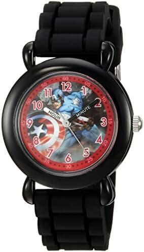 Marvel Boy's 'Captain America' Quartz Plastic and Silicone Casual Watch, Color:Black (Model: WMA000027)