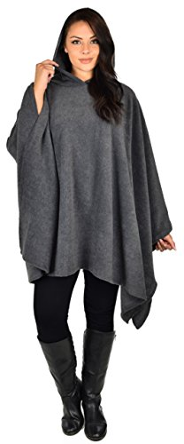 Dare2bStylish Women Poncho Style Hoodie Sweater Fleece Cover Up for Cold Weather, Charcoal Gray, One Size (Fits L-5X)