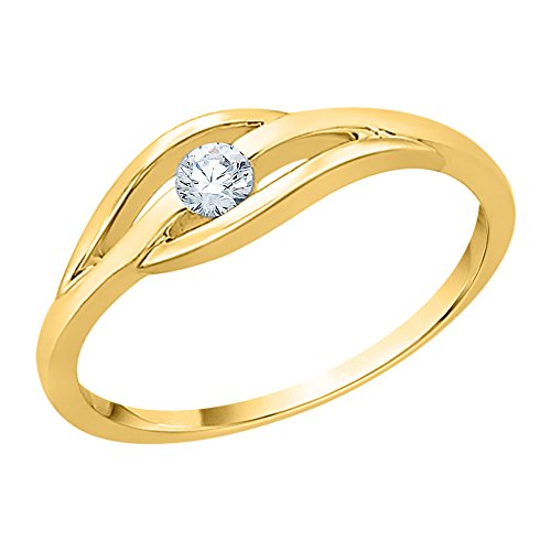 KATARINA Diamond Promise Ring in 14K Yellow Gold (1/10 cttw) (GH-Color, VSSI-Clarity) (Size-3.5) - Solitaire Single Cell