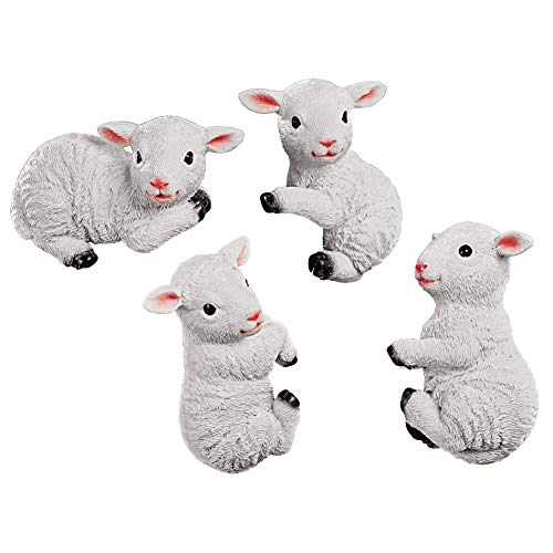 White Lamb Pot Hangers - Set of 4, Hand-Painted Textured Resin, Seasonal Decorative Accent ()