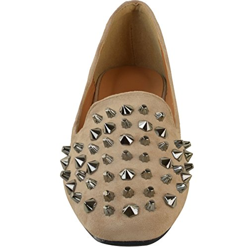 Womens Ladies Studded Flat Shoes Pumps Loafers Ballet Rock Punk Black Size UK Mocha Brown Faux Suede / Gun Metal Studs dsIaqTLR