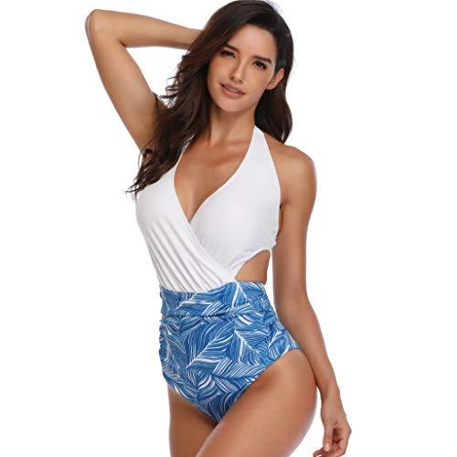 - Lelili Women Padded Sexy Floral Lace-up Print Backless Bikini Halter One Piece Swimwear Fashion Hanging Neck Swimsuit Blue