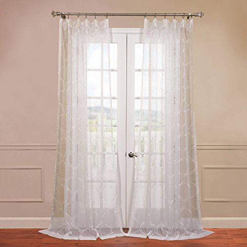 Half Price Drapes SHCH-EMB20131A-120 Embroidered Sheer Curtain, Florentina - Pattern Florentine