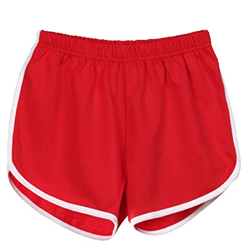 Pantaloncini Skinny Rosso Pantaloni Sport Donna Pants Corti Yoga Spiaggia Elastica Estivi Casuale Fitness Vita Hot HZ5pp61Eq