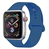 YANCH Compatible with for Apple Watch Band 42mm 44mm, Soft Silicone Sport Band Replacement Wrist Strap Compatible with for iWatch Nike+,Sport,Edition,M/L,Ocean Blue