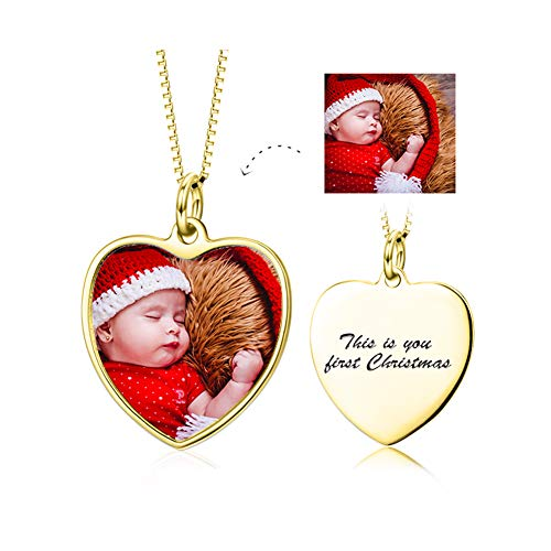Square Photo Sterling Silver Frame (LONAGO Full Color Photo Picture Personalized 925 Sterling Silver Necklace Custom Etched Pet Cat Dog Family Mother Baby Image Heart Round Square Shape Pendant Tag (Heart-Shaped-Gold-Plated-Silver))