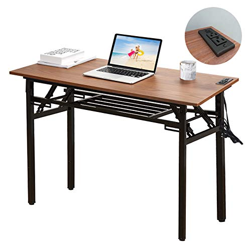 Frylr Upgrade Computer Desk 43.3''X 19.6''X 29.5'' Study Table Office Desk with 2 Power Sockets and 2.1A USB Charging Ports, Folding Writing Desk for Home Office, No Install Needed, Walnut + Black Leg