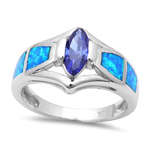 Opal Lab Blue Ring (Marquise Cut Purple Cz & Lab Created Blue Opal .925 Sterling Silver Ring - Size 10)