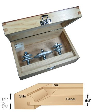 Infinity Tools 00 102 3 Piece Bevel Cabinet Maker S Router Bit Set With Free Set Up Blocks