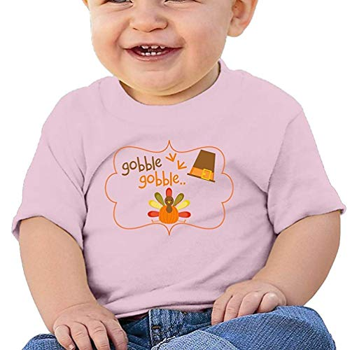 HTUAEUEHRH Thanksgiving Turkey Gobble Infants Toddlers T Shirts Unisex Short Sleeves Pink
