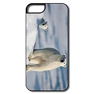 IPhone 5 5S Hard Plastic Cases, Polar Bear Baby White/black Protector For IPhone 5S
