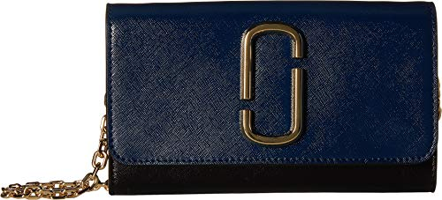 Marc Jacobs Women's Snapshot Wallet on Chain, Blue Sea Multi, One - Leather Marc Cowhide Jacobs