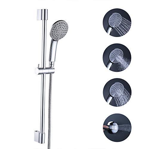 KES Bathroom Sliding Shower 3+1 Function Head Hand Held Shower with Slide Bar Handheld Showerhead with Slider Showering System Adjustable Height Contemporary Style Matt Black, F200-CH+KP401-CH