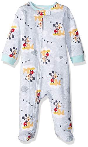 Disney Baby Boys Newborn Footed Sleep and Play, Mickey/Pluto, 6/9 Months -