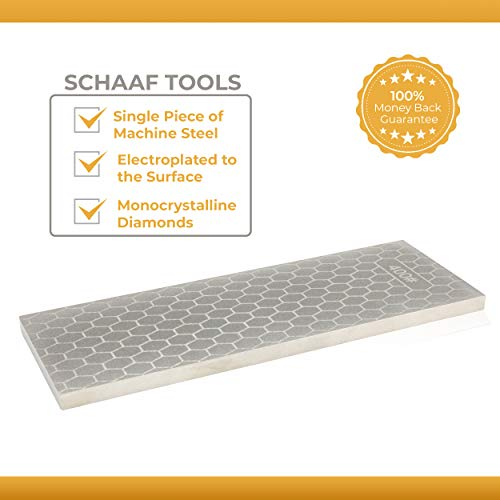 Schaaf Tools 400/1000 Grit Diamond Sharpening Stone | 8 x 3 Inches | Universal Base | eBook Included by Schaaf Wood Carving Tools (Image #1)
