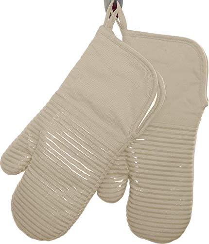 Oven Tan Mitt - Gourmet Essentials 2pk Oven Mitt with Silicone Strips (Tan)