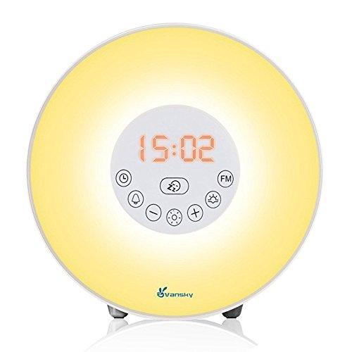 Sunrise Alarm Clock, Vansky 2018 Edition Wake Up Light Digital Clcok Multi-Colorful Night Light Bedside Lamp with Snooze Function, 6 Nature Sounds, FM Radio, Brightness Adjustable, Touch Control