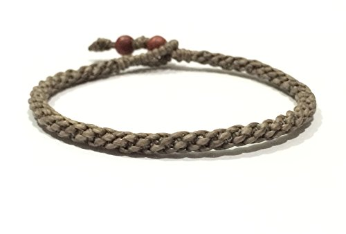 Khaki Mens Wax Cotton Weave Thai Wristband Bracelet Handcrafted Handmade Wristwear ()