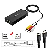 HDMI to RCA Converter, HDMI to Composite Video Audio Converter Adapter, HDMI to AV, Supports PAL/NTSC for Fire Stick, Roku, Blu-Ray, DVD Player, Wii, PC