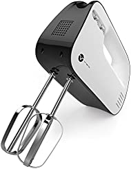 Vremi Electric Hand Mixer 3 Speed with Built-in Storage Case - 150 Watt Power Egg Beater Handheld Kitchen Mixer Stainless Steel Beaters Blades - Heavy Duty Mini Small Mixing Machine - Black White