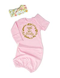 Isn't She Baby Gowns Girls Pink Floral Nightgowns Headband Romper Sleeping Bag Gift
