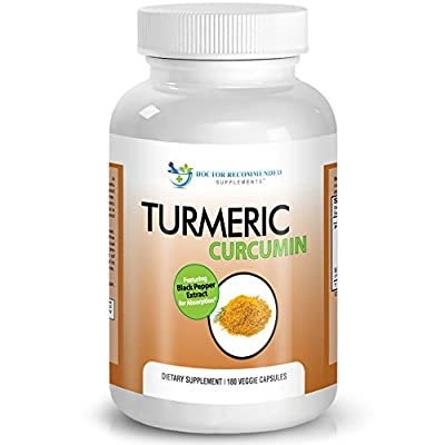 Turmeric Curcumin - 2250mg/d - 180 Veggie Caps - 95% Curcuminoids with Black Pepper Extract (Piperine) - 750mg capsules - 100% ORGANIC - Most powerful Turmeric Supplement - by Doctor Recommended