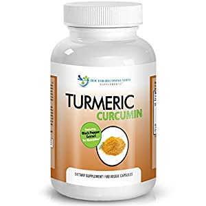 Turmeric Curcumin - 2250mg/d - 180 Veggie Caps - 95% Curcuminoids with Black Pepper Extract (Piperine) - 750mg capsules - Most powerful Turmeric Supplement - by Doctor Recommended