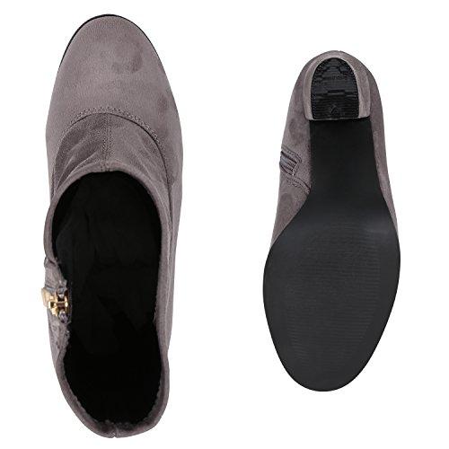 Stiefelparadies Klassische Damen Stiefeletten High Heels Stilettos Schleifen Flandell Grau Samtoptik