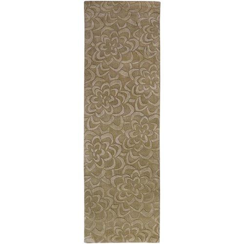 - CC Home Furnishings 2.5' x 8' Bas-Relief Bouquet Brindle Beige Wool Area Runner Throw Rug