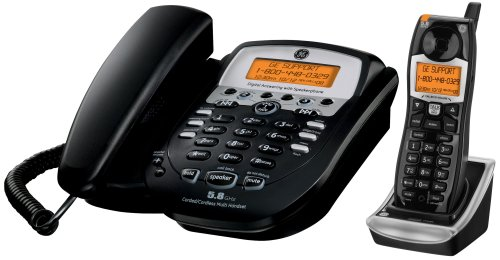 GE 5.8 GHz Black Corded Analog Base Phone with Cordless Handset (25983EE2) ()