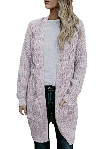 HOTAPEI Women's Autumn Winter Casual Soft Pockets Cable Knitted Long Sleeve Loose Open Front Kimono Cardigan Sweaters Light Purple Small