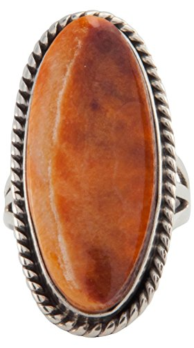 Navajo Native American Orange Spiny Oyster Shell Ring Size 5 1/2 - Orange Spiny Shell