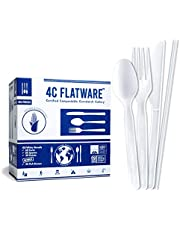 4C FLATWARE Compostable Cutlery in Convenient Tray - 150 PC Plant Based Non-Plastic Cutlery Set: [60-60-30] Reusable Forks Spoons Knives + [20] Bonus Eco Straws, Disposable Cutlery Plant Based Flatware Set