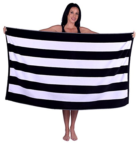 Cabana Stripe Terry Velour Beach Towel (1 Towel, Black)