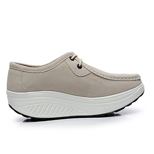 Shenn Kvinna Bekväm Plattform Athletic Mocka Mode Sneakers Beige