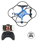 ATOYX AT-96 Drone HD Camera, RC Mini Drone, 3D Flips, Headless Mode with 2.4Ghz FPV WiFi APP, Altitude Hold and One Key Take Off/Landing, Gifts for Kids(Blue)