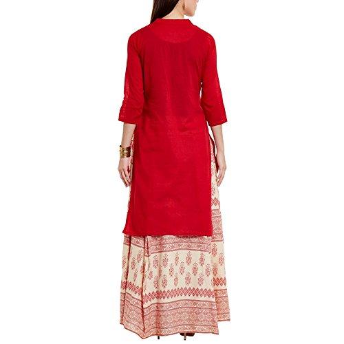 Frauen rot Kurta mit ethnische und Stammes-Motive Rock, reine Baumwolle