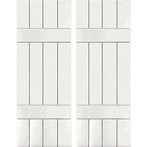 Ekena Millwork RWB15X055WHP Exterior Four Board Real Wood Pine Board-n-Batten Shutters (Per Pair), 15