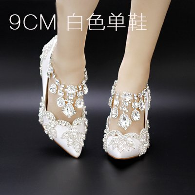 Sandals Prom Shoes Crystal Hollow Red Buckle Heel Shoes Diamond Strap Heeled Strap Wedding High B Bride White 8 VIVIOO Summer 9Cm Crystal Shoes Sandal Fringed qAd5xnFA
