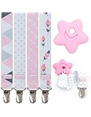 Liname® Pacifier Clip with BONUS Teething Toy - 4 Pack Gift Packaging - Premium Quality & Unique Design - Pacifier Clips Fit ALL Pacifiers & Soothers - Perfect Baby Gift