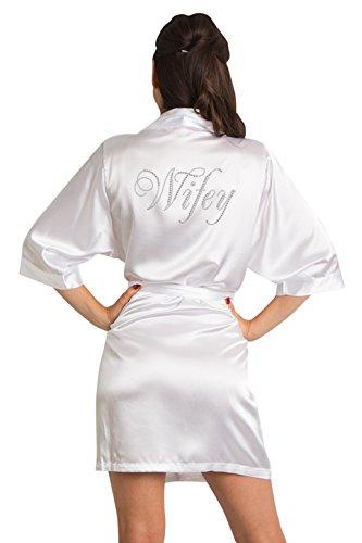 Zynotti Womens White Satin Wifey Robe with Dazzling Rhinestones S/M 2-12