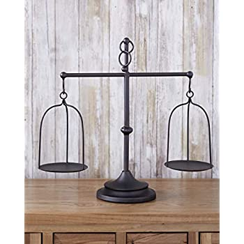 The Lakeside Collection Farmhouse Scale Candleholder - Unique Centerpiece Stand with Vintage Style