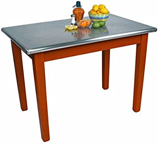 "product image for John Boos Cucina Americana Moderno Prep Table with Stainless Steel Top Size: 48"" W x 24"" D, Base Finish: Warm Cherry"