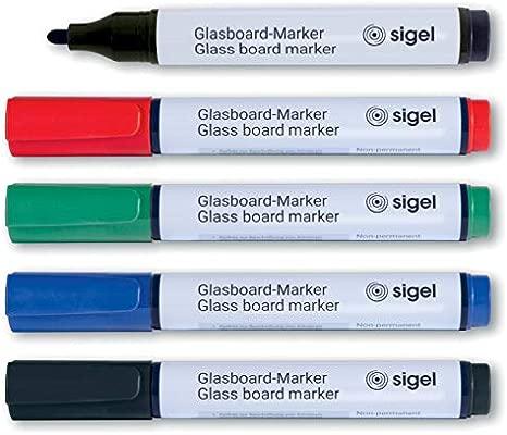 SIGEL GL711 Rotuladores para pizarras de cristal magnéticas / pizarras blancas, borrables, tinta