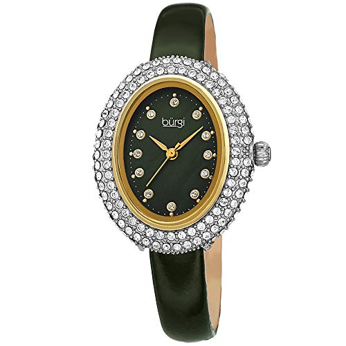 Burgi Swarovski Crystals Oval Watch - Genuine Swarovski Studded Double Row Crystals, Patent Leather Strap, 12 Crystal Markers On Mother of Pearl Dial - Mother's Day Gift-BUR234GN (Green)