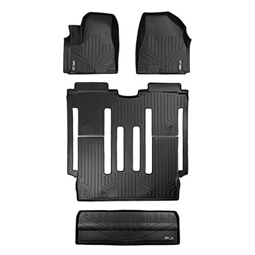(SMARTLINER Floor Mats and Cargo Liner Behind 3rd Row Set Black for 2015-2018 Kia Sedona 8 Passenger Model Only)