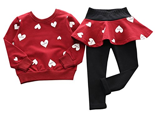 Adorable Toddler Baby Girls Clothes Set Long Sleeve T-Shirt and Pants Outfit Fall Clothes (Red,Age 2T)