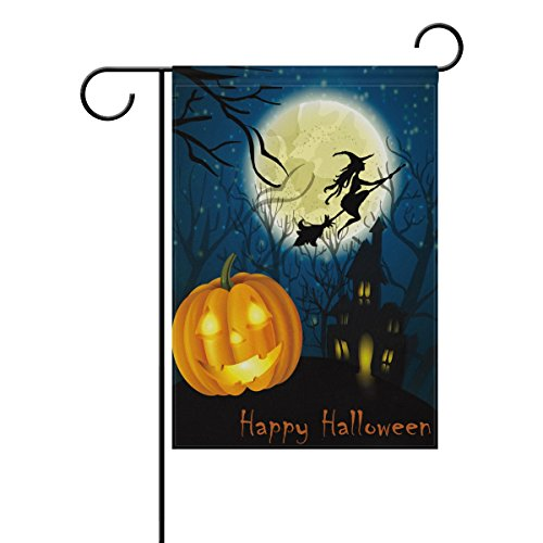 Naanle Halloween Witch Pumpkin Castle Polyester Garden Flag