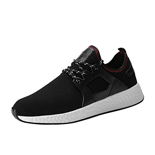 Kundork Mens Running Shoes Casual Walking Sneakers Workout Athletic Shoe for Men (Black White44)
