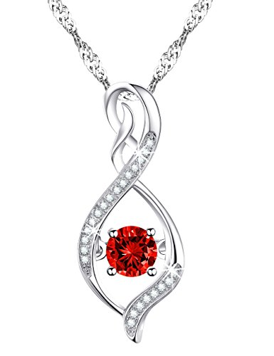 Valentines Day Birthday Gift for Women January Birthstone Garnet Infinite Necklace Sterling Silver Swarovski